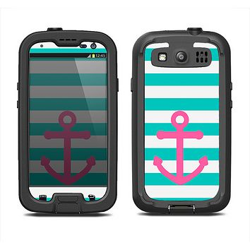 The Teal Striped Pink Anchor Samsung Galaxy S3 LifeProof Fre Case Skin Set