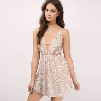 Summer western style fashion sexy print deep V-neck backless  woman's Casual spaghetti strap dress