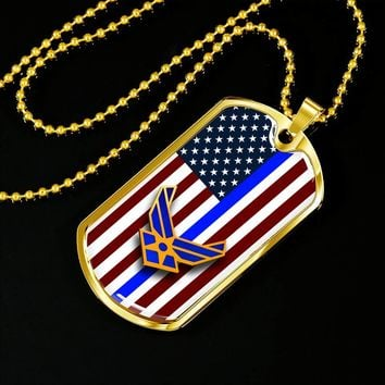 Thin Blue Line Quality Personalized Jewelry - U.S. Air Force Dog Tag