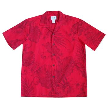 monstera ceres red hawaiian cotton shirt