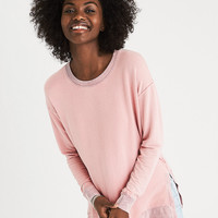 AEO Soft & Sexy Split Side Sweatshirt, Pink