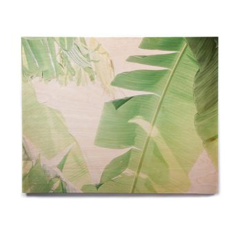 "Ann Barnes ""Banana Leaf I"" Green White Birchwood Wall Art"