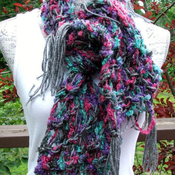 "Knit Infinity Scarf. Chunky. Disheveled. 50"" Long. Gray. Made by Bead Gs on ETSY. Acrylic. Mohair. Wool."