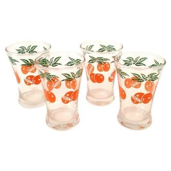 Pre-owned Vintage Orange Juice Glasses - Set Of 4