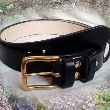 "Men's leather belt, 1.5"" wide, solid brass buckle, 2 fixed keepers, womens leather belt, black leather belt"