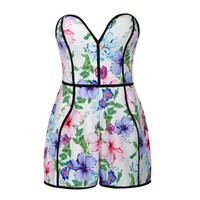 FLORAL BOOBTUBE PLAYSUIT WITH CONTRAST PIPING