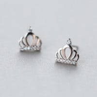 Exquisite zircon crown 925 sterling silver earrings + Gift box ALQ1028