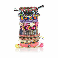 Multicoloured eclectic fabric bracelet pack
