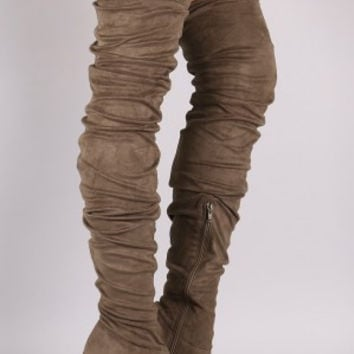 Anne Michelle Suede Slouchy Pointy Toe Stiletto Boots