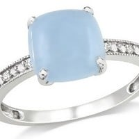 1 3/4 Carat Milky Aquamarine and Diamond 10K White Gold Ring