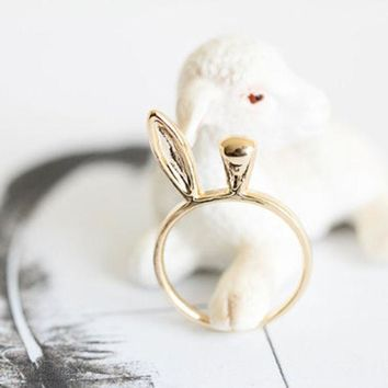 VONE7HQ OPAL FERRIE - New Arrival Gold Jewelry Rings Rabbit Shape Knuckle Ring