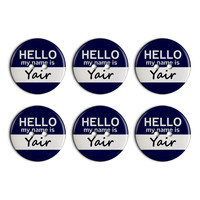 Yair Hello My Name Is Plastic Resin Button Set of 6
