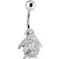 Sterling Silver 925 Cubic Zirconia Penguin Belly Ring | Body Candy Body Jewelry