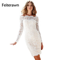 Woman Dress spring 2017 hot Robe Dentelle Bodycon White Dress Long Sleeves Hollow Out Off The Shoulder Lace mini Dress DL61322