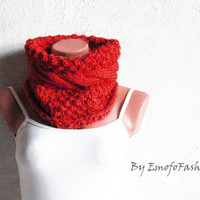 Chunky Cable Knit Cowl Scarf, Cozy Scarf Red, Cable Knit Neck Warmer, SCARVES, Winter Accessory Woman, Teens, Gift for Her