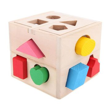 DCCKL72 13 Holes Intelligence Box for Shape Sorter Cognitive and Matching Wooden Building Blocks Baby Kids Children Eductional Wood Toys