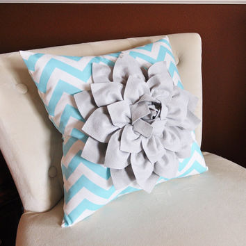Decorative Pillow Gray Dahlia on Aqua and White Zigzag Pillow -Chevron Pillow-