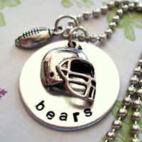 Personalized Football Helmet and Football Charm Necklace, Football Necklace, Sports Jewelry, Football Jewelry, Hand Stamped Football Jewelry