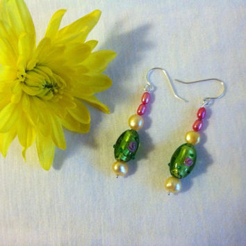Green Glass Rosebud Earrings Green Lamp Work Foil Bead and Yellow Pink Freshwater Pearl Handmade Spring Summer Earrings Green Floral Jewelry