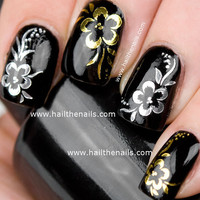 Gold or Silver Rose Flower Print Nail Art Water by Hailthenails