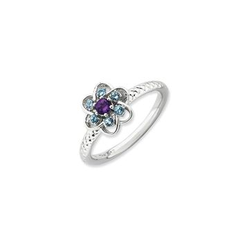 Sterling Silver Stackable Blue Topaz Gemstone Flower Ring
