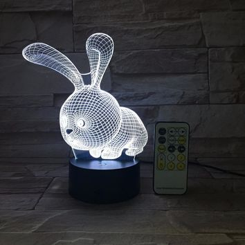 Bunny Rabbit 3D LED Night Light Lamp
