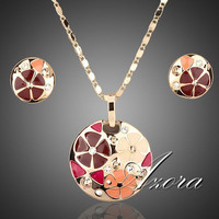 AZORA 18K Real Gold Plated Multicolour Flower Design Stud Earrings and Pendant Necklace Jewelry Sets TG0004