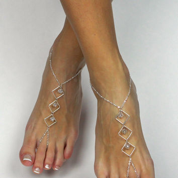 Minimalist Silver Barefoot Sandals Foot Jewelry