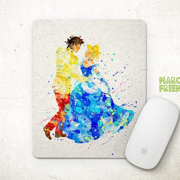 Cinderella Mouse Pad, Disney Princess Watercolor Art, Mousepad, Office Decor, Gift, Art Print, Desk Deco, Computer Mouse, Disney Accessories