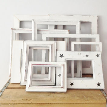 Wedding White Painted Frames - Shabby Chic Decor - 10 Painted Chippy Picture Frames