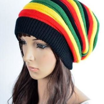 Free Shipping 2015 Winter Hip Hop Bob Marley Jamaican Rasta Reggae rainbow Striped Beanie Hats For Mens Women