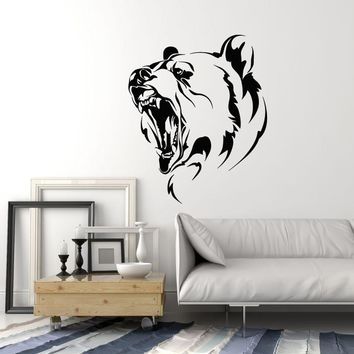 Vinyl Wall Decal Growling Bear Tribal Animal Hunting Art Home Decor Stickers Mural Unique Gift (ig5089)
