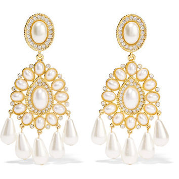Kenneth Jay Lane - Gold-plated, crystal and faux pearl earrings