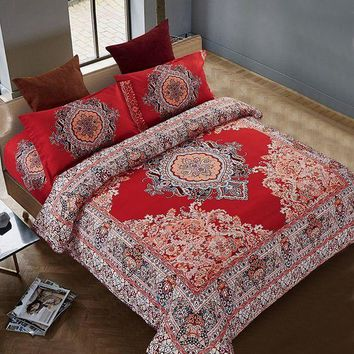 PEAP78W Bohemian Duvet Cover Sets Bohemian Bedding Microfiber Red Bedding Sets One Duvet Cover One Bed Sheet Two Piollowcases 4PCS