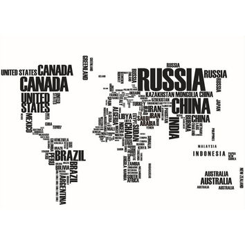 Black Letters World Map Removable Vinyl Decal Art Mural Wall PAPER