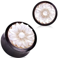 Organic Sono wood with Mother of Pearl Lotus Plug by Every Body Jewelry