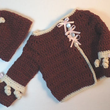 Handmade Crochet Newborn to 6 Months, Brown and Cream Sweater and Hat, Cardigan Sweater & Hat , Baby Shower Gift, Soft Wool, Unisex Clothing