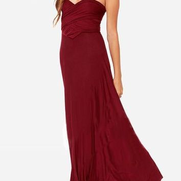 Streetstyle  Casual Plain Bandeau Collarless Multi Way Floor Length Maxi Dress