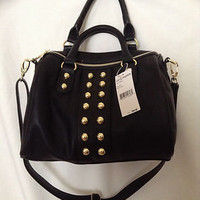 BNWT Steve Madden Black Patent Leather Gold Studded Satchel Purse