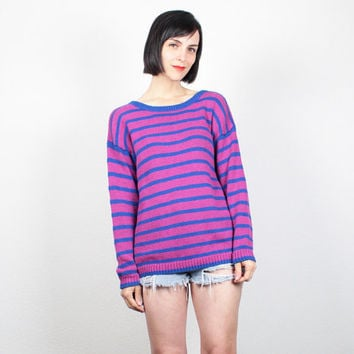 Vintage 90s Sweater 1990s Jumper Pink Blue Faded Striped Pullover Bright Soft Grunge Cozy Knit Boyfriend Sweater Chunky Knit Pull M Medium