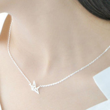 Womens Sterling Silver Paper Cranes Pendant Necklace Gift-83