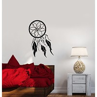 Vinyl Wall Decal Dreamcatcher Bird Feathers Protective Talisman Stickers (3890ig)