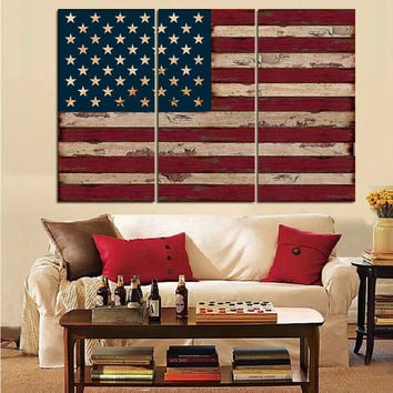 Unframed Rustic Three Piece American Flag
