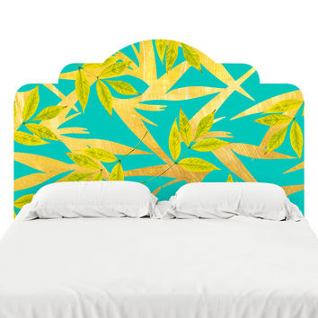 Gold and Teal Florals Headboard Decal
