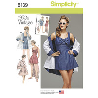 Simplicity Pattern 8139 Misses' Vintage Bathing Dress and Beach Coat