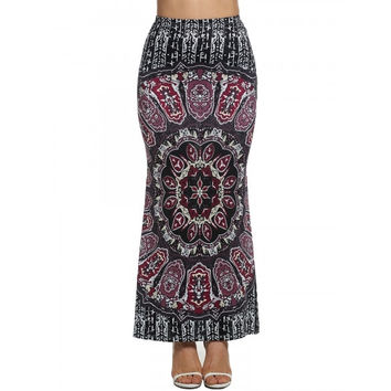 New Women Casual High Waist Print Maxi Long Fishtail Skirt