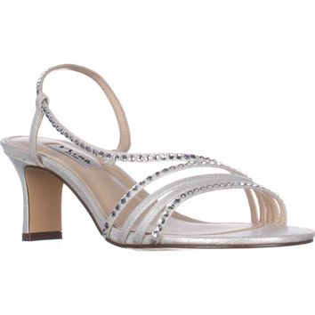 Nina Gerri Cross Strap Evening Sandals, Silver Reflect, 6 W US