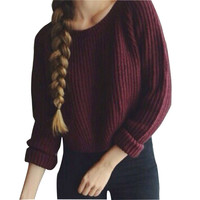 Wine Red Women Sweater Pullover 2016 Autumn Knitted Sweater Vintage O-neck Loose Sweaters Fall Warm Solid Jersey Mujer Big Size