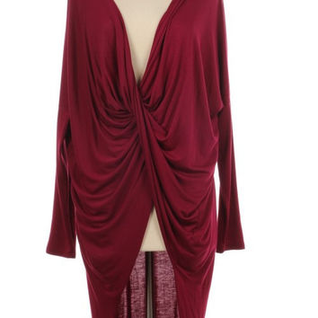 Cross My Heart Burgundy Cross-Over Tunic