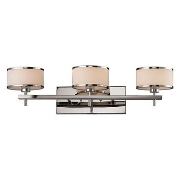 Utica 3-Light Vanity Lamp in Polished Chrome with White Blown Glass